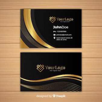 Elegant business card template with golden style