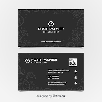 Elegant business card template with hand drawn style