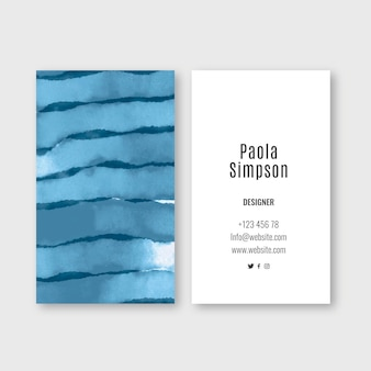 Elegant business card template with watercolor brush strokes
