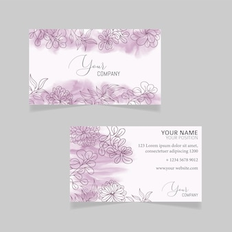 Elegant business card template with watercolor floral background