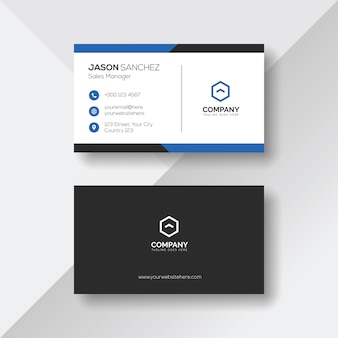 Elegant business card with blue details