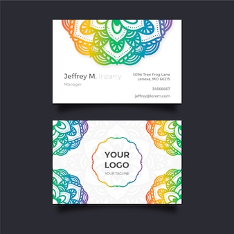 Elegant business card with colorful mandala