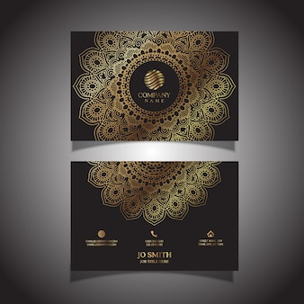 Элегантная визитная карточка с декоративным дизайном мандалы