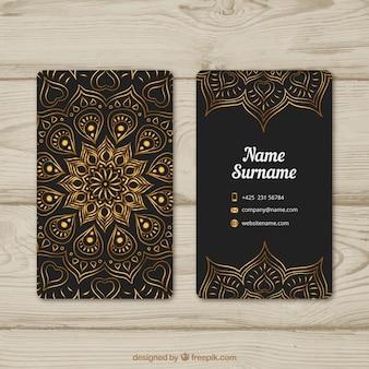 Elegant business card with golden mandala