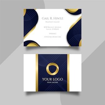 Элегантная визитная карточка с золотыми формами