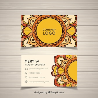 曼荼羅デザインのエレガントな名刺