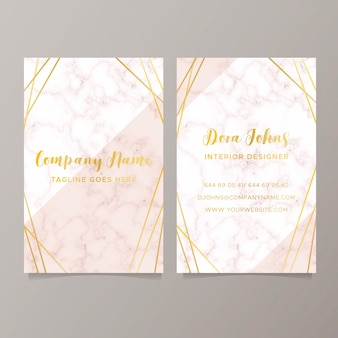 Elegant business card with marble texture