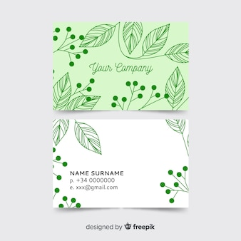 Elegant business card with nature concept