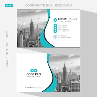 Elegant business card with photo of city