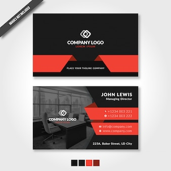 Elegant business card with red and black