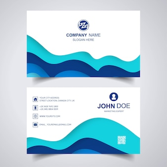Elegant business card with wave template