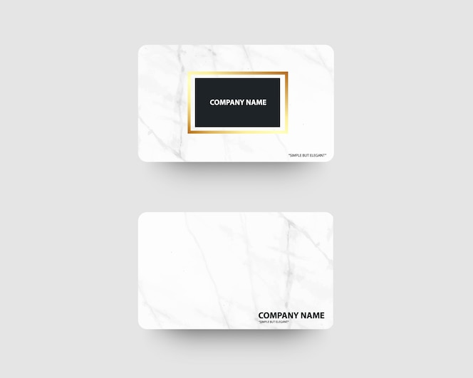 Elegant business cards with marble texture and gold