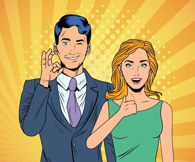 Elegant business couple pop art style characters