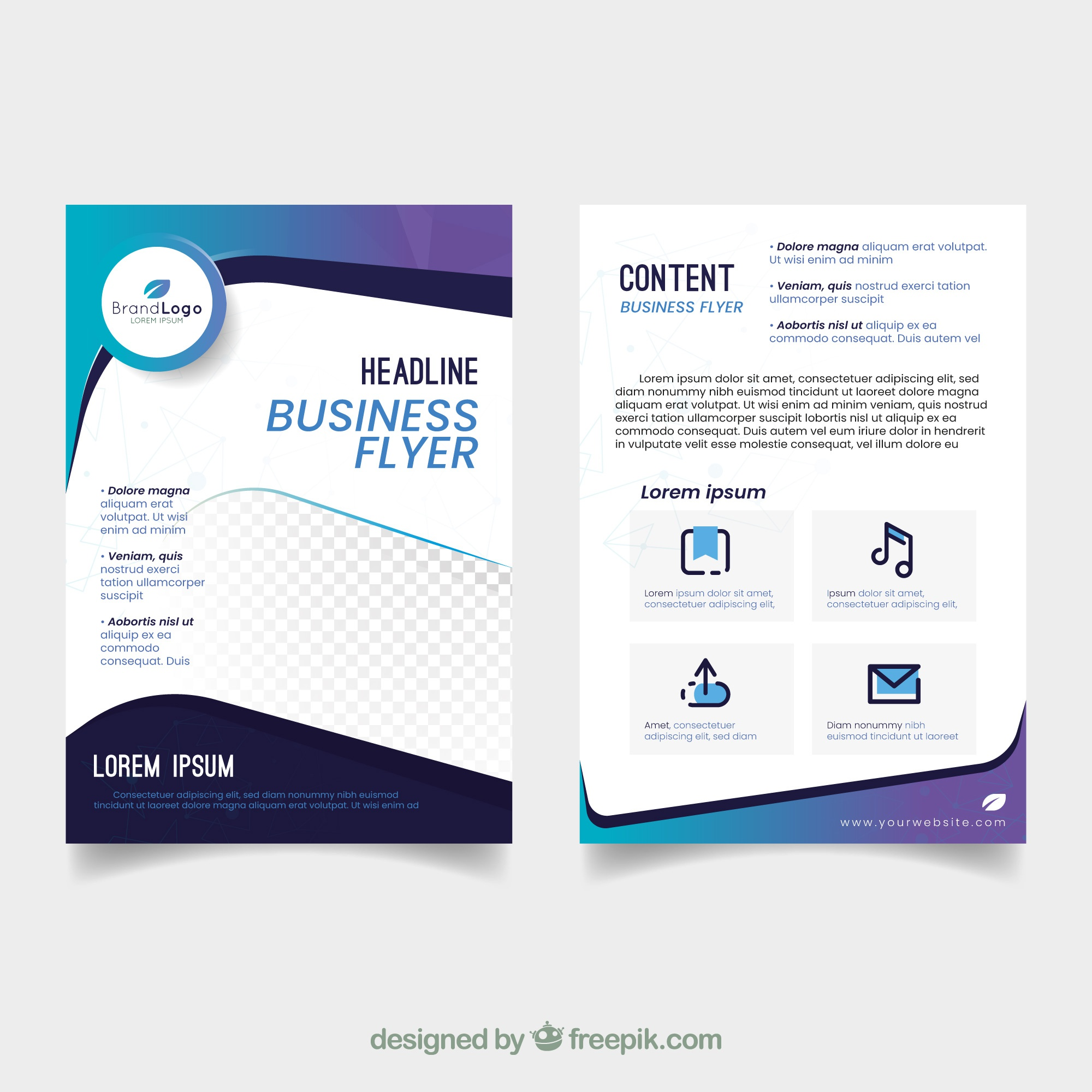 Elegant business flyer template with abstract design