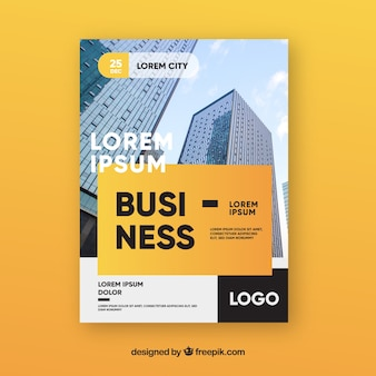 Elegant business flyer template with buildings