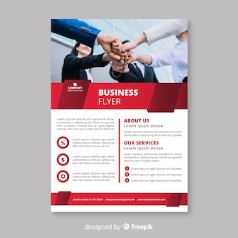 Elegant business flyer template with flat design