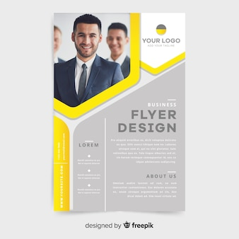 Elegant business flyer template with photo