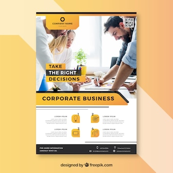 Elegant business flyer template with young workers