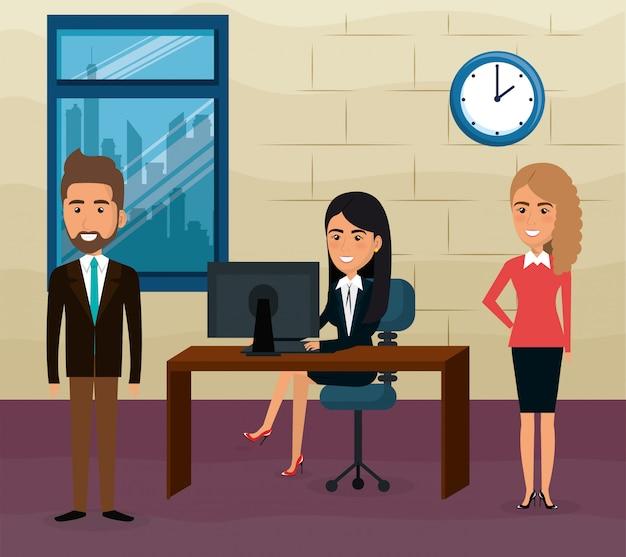 Elegant business people in the office scene