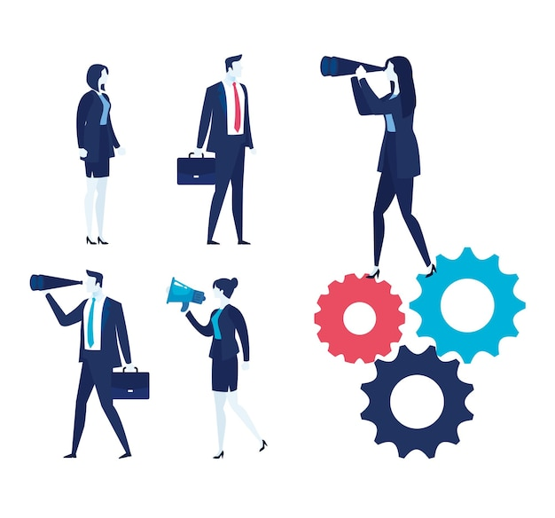 Elegant business people and set work icons