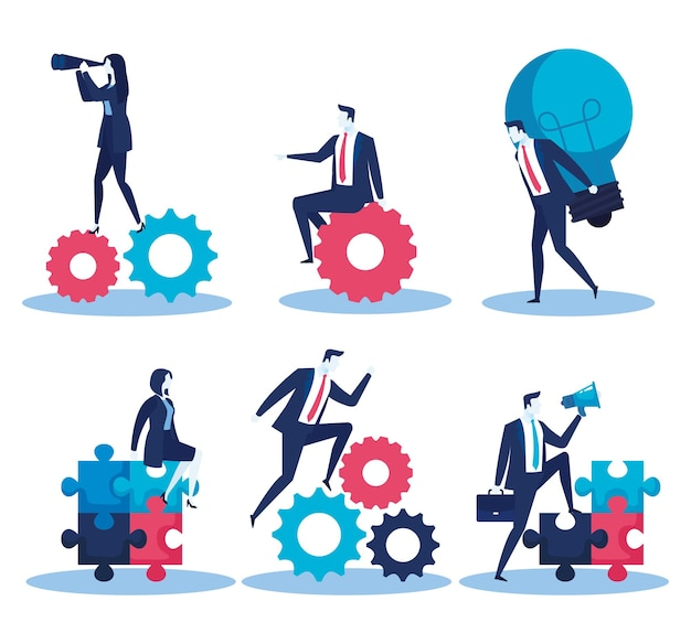 Elegant business people with gears and puzzle pieces