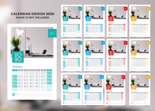 Elegant business style 2020 calendar template with vector