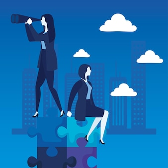 Elegant business women with telescope characters