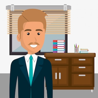 Elegant businessman in the office scene