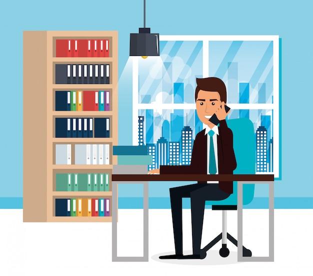 Elegant businessman in the office scene