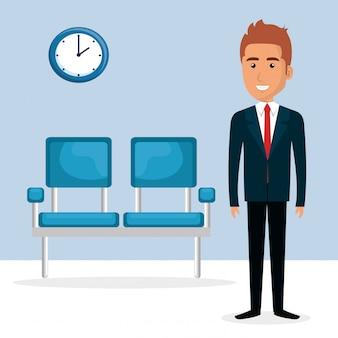 Elegant businessman in the waiting room
