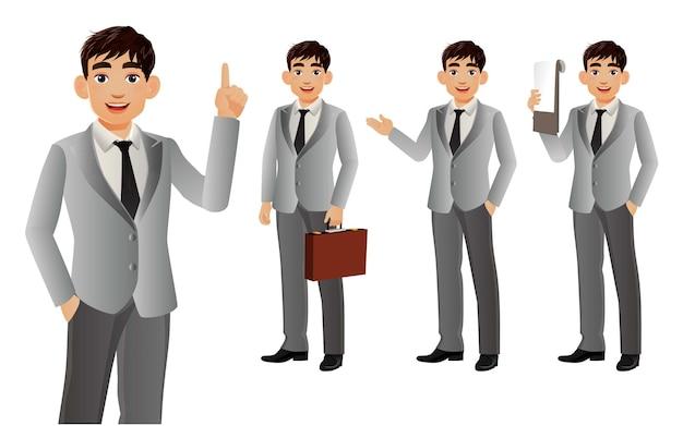 Elegant businessman with different poses