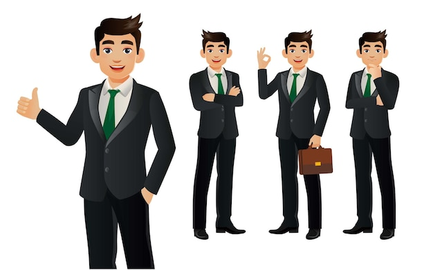 Elegant businessman with different poses. Premium Vector