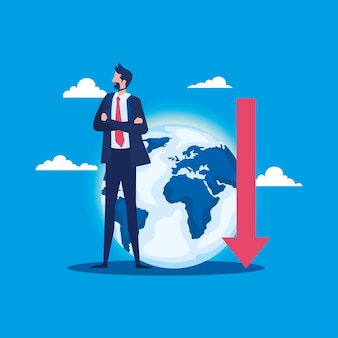 Elegant businessman with earth planet and arrow down vector illustration design