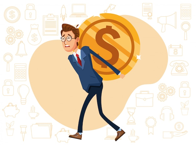 Elegant businessman with lifting coin