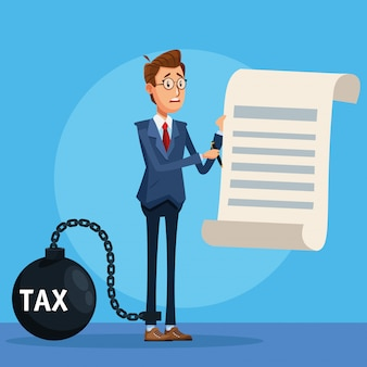 세금 걸쇠와 문서와 우아한 사업가