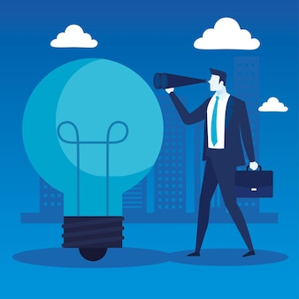 Elegant businessman worker with bulb and telescope