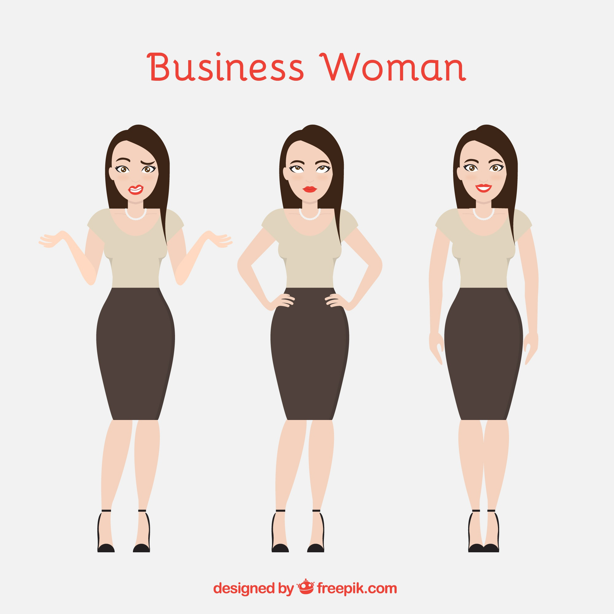 Elegant businesswoman character with facial expressions