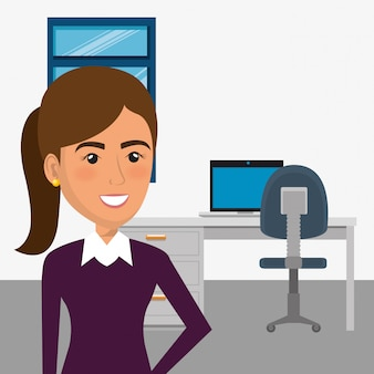 Elegant businesswoman in the office scene