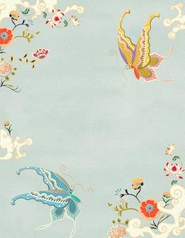 블루 톤의 우아한 나비와 꽃 장식 포스터