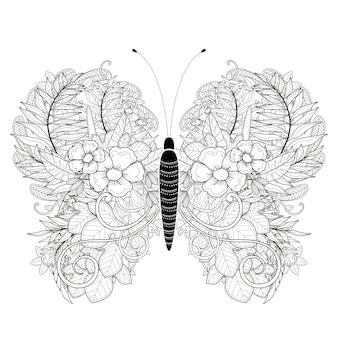 絶妙なスタイルのエレガントな蝶の着色ページ