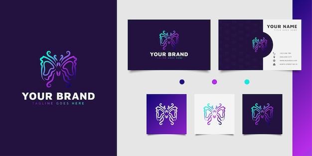 화장품 호텔 스파 또는 리조트의 로고에 적합한 화려한 그라데이션 개념의 우아한 나비 로고