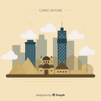 Elegant cairo skyline with flat design