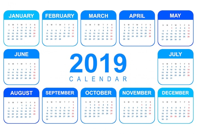 Elegant calendar colorful 2019 template design