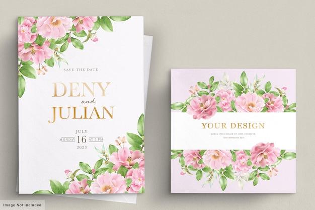 우아한 동백 꽃 결혼식 초대 카드 템플릿