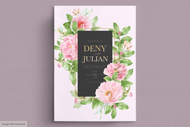 Elegant camellia floral wedding invitation card template