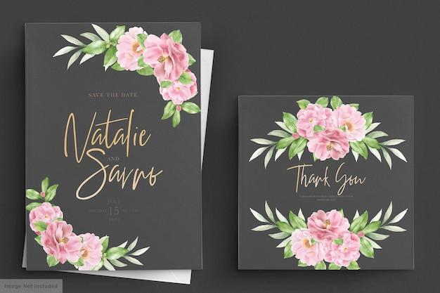 Элегантный цветочный шаблон свадебного приглашения камелия