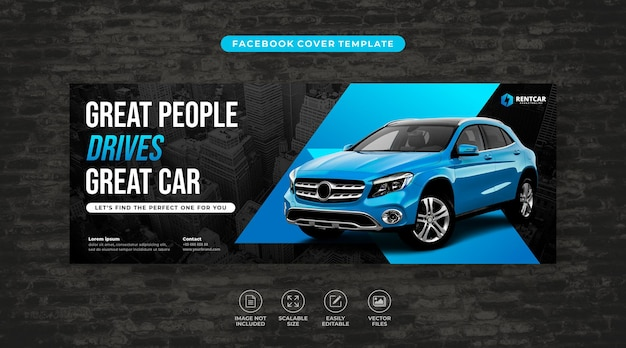 Аренда и продажа элегантных автомобилей, обложка facebook в социальных сетях, вектор