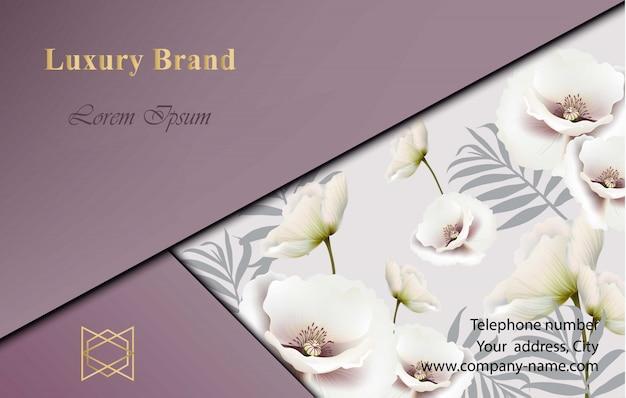花の装飾とエレガントなカードベクトル。抽象的なモダンデザインの背景