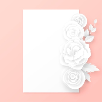 Elegant card with white paper cut flowers