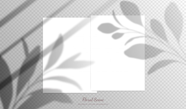 Elegant cards   with floral overlay shadows. editable empty stationery card   scene with flowers